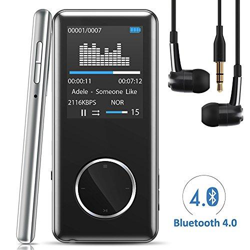 """[Neue Version] MP3 Player,Tinzzi MP3-Player Musik-Player Bluetooth Mit kompatibel HIFI,Digitales Audio-Player-Legierung integrierte Kapazität 8GB mit 1.8 """"/ 46 mm LED-Display / Portabler Player mit Lautsprecher / Audio-Player für Sport mit Micro SD-Kartenslot"""