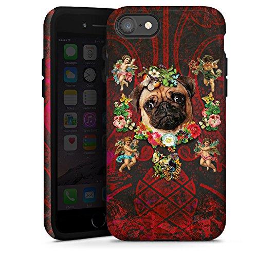 Apple iPhone X Silikon Hülle Case Schutzhülle Mopsi Engel Blumen Mops Hund Tough Case glänzend