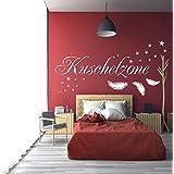 WANDTATTOO HM~AA100 Wandschnörkel ® Kuschelzone Spruch mit Federn und 18 Sterne Größen/Farbauswahl