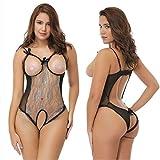Sexy Liggyrj Underwear_Europe E Stati Uniti Intimo di grandi dimensioni Intimo sexy Pizzo Fiocco Aperto Tre punti Nero Xxl