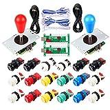 2 Piezas de Arcade Joystick para bricolaje codificador USB + 2X Ellipse Oval Joystick Handle 18x Botones estilo americano Arcade para PC, MAME, Raspberry Pi, sistema Windows (Kit Mezcla De Colores)