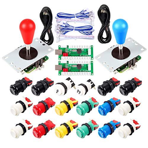 EG STARTS 2 Giocatori Arcade Joystick Parti Fai da Te USB Encoder 2X Ellipse Maniglia Joystick Ovale 18x Pulsanti Stile Americano Arcade per PC, MAME, Raspberry Pi, Sistema Windows (Mix Color Kit)