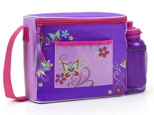 DNC Polar Gear Kinder Lunch Bag und Flasche mit langem Schulterriemen, Schmetterlinge/Wirbelmotiv
