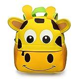 BTSKY Cartera Escolar Infantil con Asa Doble Mochila Graciosa con Diseño de Animales como Mono Tigre Jirafa Ligero Tamaño Perfecto para Niños de 1-5 Años (Jirafa)