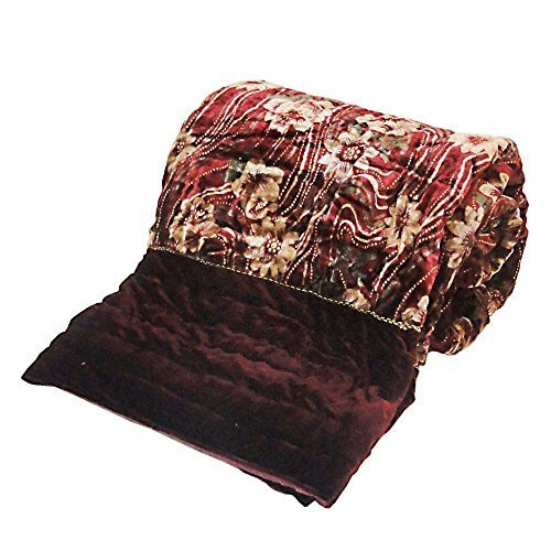 Little Indien Ethnic Floral Stil Bett Quilt in Samtstoff Doppelbett Maroon (Größe Voller Quilt In Floral)