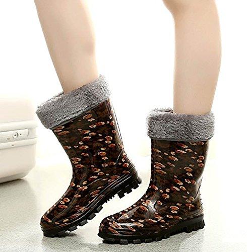 LvRao Damen Hohen Absätzen Lange Stiefel Gummistiefel Wasserdichte Regen Schuhe Hoch Knöchel Boots Langschaft Stiefel Braun Mit Pelz