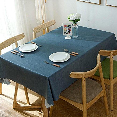 Moderne simplicité plaine nappes PVC plastique d'impression de table en tissu de linge libre de lavage antisalissure imperméable à l'eau étanche à l'huile de la nappe anti-poussière bleu marine , 120*120cm