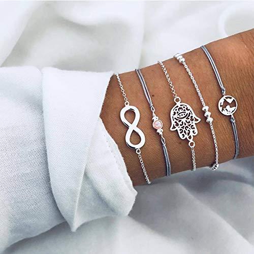 o Palm Karte Digital Bead Gem Silber Leder Kette Anhänger Armband Set Weiblichen Charme Multilayer Armband Set ()