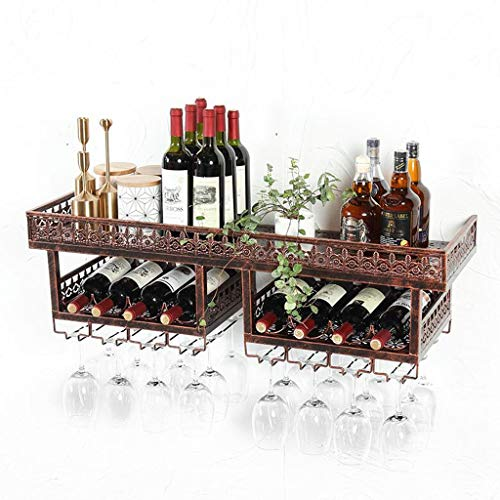 Fendou Design Wandhalterung aus Metall und Holz for Weinregal, Flaschen- und Glashalter, Korklager for Küche, Esszimmer, Bar, Weinkeller (Color : Bronze, Size : 200cm×30cm×30cm)