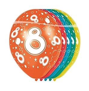 Folat - Globos con el número 8 (5 unidades, aptos para helio)