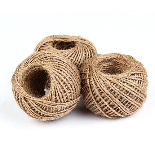 Eulan 90M Jute Twine, Jute Natural Rope 2mm 3 ply for Gifts, DIY Crafts, Festive Decoration, Bundling and Gardening Bundling (Brown) -