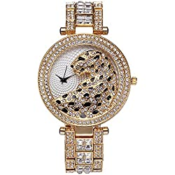 Sheli Women Unique Design Gold Plated Crystal Accented Leopard Yellow Dial Bangle Wrist Watch