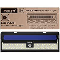 RuneSol® 86 LED Motion Sensor Solar Powered Light | LED Garden Lights - Light Your Patio, Fence, Garden, Driveway | Security LED Panel Solar Lighting