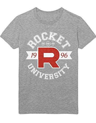 (T-Shirt Poke Go Team Rocket University Jessie James Mauzi Kanto 1996 Blue Version Pokeball Catch 'Em All Hype X Y Blue Red Yellow Plus Hype Nerd Game C210012 Grau XXL)