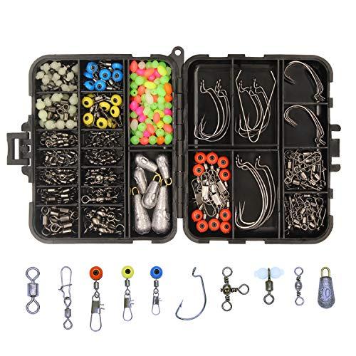 OKVGO 226PCS/scatola per attrezzatura da pesca in mare, kit set con molteplici accessori [Jig ganci, Sinker pesi, diversi girelle pesca Snaps, Sinker Slides, lenza Beads]