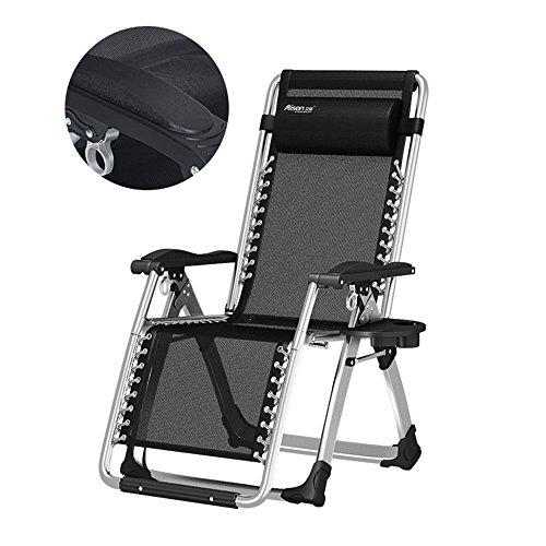 Falten Sie Lounge-Stühle, Balkon-Stühle, Büro-Siesta-Stuhl, alter Mann-Lehnsessel, beweglicher Gartenstuhl, Sun-Ruhesessel, Garten-Stühle, Strand-Stühle, Schwerelosigkeits-Stuhl (Farbe : Schwarz) | Garten > Balkon > Balkonstühle | Sofa Stuhl