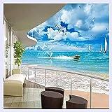 BHXINGMU Custom 3D Wandbild Mediterran Modern Balkon Meer Blauer Himmel Wandbild Sofa Wohnzimmer Hintergrund Dekoration Bilder Wallpaper 270 Cm (H) X 370 Cm (W)