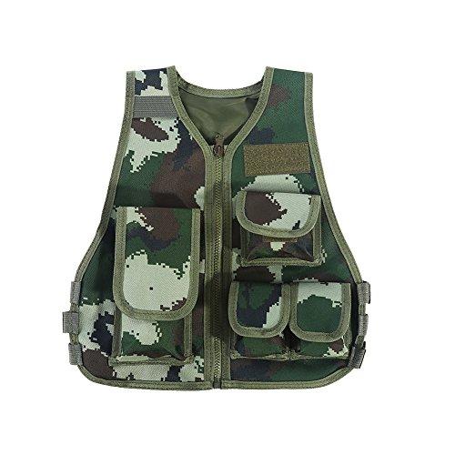(Kinder Camo Taktische Weste, Kinder Tactical Weste Kit für Nerf Airsoft Armee Militär CS Spiel Molle Combat Weste Einstellbare Multi-Beutel Camo Training Jagd Weste Jacke S/L (S, Jungle Camouflage))