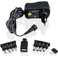 CSL - Bloc d'alimentation universel 3/4,5/5/6/7,5/9 et 12 V AC/DC 1000 mA, 9 fiches| adaptateur de voyage