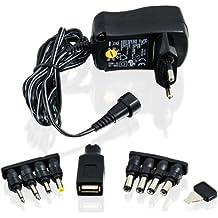 CSL - Alimentatore universale 3 / 4,5 / 5 / 6 / 7,5 / 9 e 12V CA/CC 1000mA, 9 connettori | adattatore da viaggio