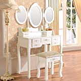 UEnjoy Coiffeuse Table de Maquillage Blanche avec Tabouret, 7 Tiroirs et 3 Miroirs Ovale Maison de Campagne