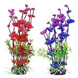 #5: UEETEK Artificial Aquatic Plants Aquarium Plant Fish Tank Decoration Landscape 2pcs (Purple and Red)