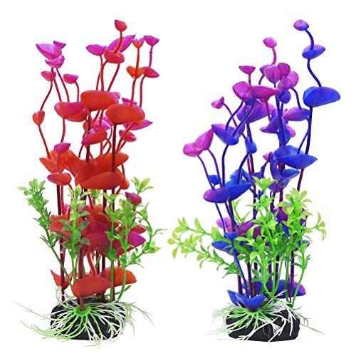 UEETEK 2 Pz Artificiale Pianta Subacquea Erba di Mare Pianta finta Decorativo Ornamento Acquario per Acquario (Viola e Rosso)