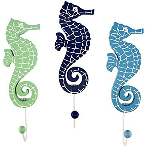 Green Blue Navy Seahorses with Single Hooks Set of 3 Wood Wall D?cor by Beachcombers