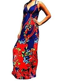 Robe Longue Femme Angela Rope - Noir & Rouge, 36-38