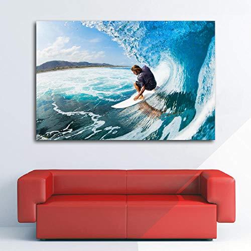 Leinwanddruck Surfen Ozean Meereswellen Extremsport Surfer Poster Wandkunst Bild Silk Leinwand Gedruckt Kunst Gemälde Für Wohnkultur 50Cmx70Cm
