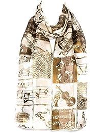 344de60aba916 Filles écharpe en mousseline de satin foulard motif instruments et notes de  musique châle enveloppant