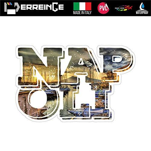 erreinge Sticker Napoli Italia Souvenir Adesivo Sagomato in PVC per Decalcomania Parete Murale Auto Moto Casco Camper Laptop - cm 12