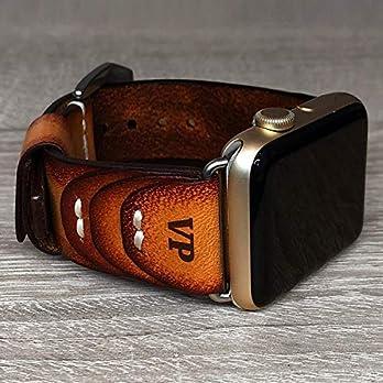 Apple Watch Strap Hand genäht Vintage echtes Leder Band 38 40 42 44mm iwatch Band Gurt Herren Freund Mann Geschenk Serie 5 4 3 2 1 personalisierte graviert Geschenk Luxus Premium