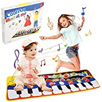 Gift for 2-8 Year Old Kids, Piano Mat for Toddlers, 19 Musical Keyboard Playmat Music Touch Play Dance Mat, Birthday Christmas Presents for Boys Girls Kids Toddlers (10 Demo, 8 Instruments Sounds)