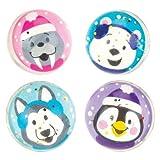 Palline Rimbalzine Glitterate Amici Polari per Bambini, Giochi e Giocattoli per Bambini Piccoli per un Natale Perfetto (Confezione da 8)