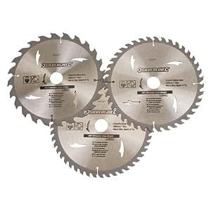 Silverline 892547 Jeu de 3 lames de scie circulaire TCT Bagues de réduction de 25 et 16 mm Profondeur de coupe 30 mm Diamètre 230 mm