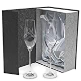 la galaica Set 2 Copas de Cristal para champán, Cava o espumosos, talladas a Mano, colección Celebration.