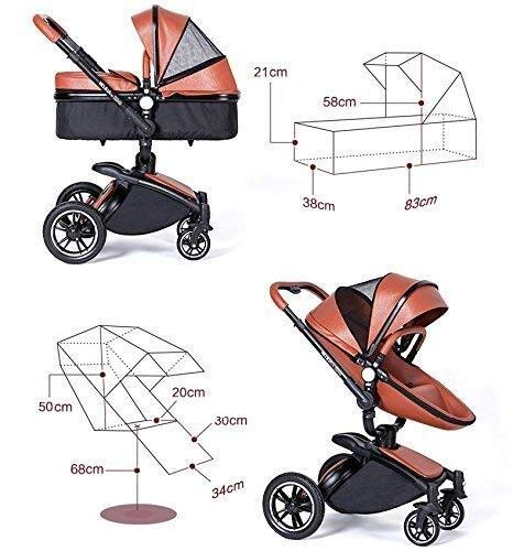 HZC 2 in 1 Baby Stroller Newborn Bassinet Travel System Baby Carriage for Toddler Girls and Boys (Color : White) HZC Suitable for baby strollers from birth to 25 kg, made of high-quality aluminum alloy, each baby stroller is pressure tested to provide safety for every baby. Multi-position Reversible Seat: Carrycot for newborn to 6 months can simply convert to seat for toddlers. Easily switch from the carrycot to toddler seat once your baby is 6 months old or can sit unaided,making it an ideal stroller for both infant and toddler. Reversible seat design allows baby to face you or face the world 7