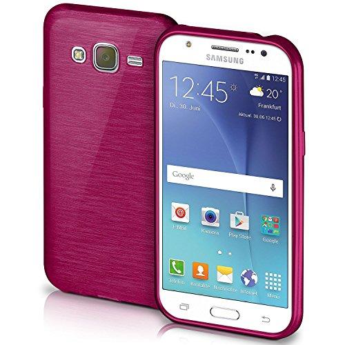 OneFlow Schutzhülle für Samsung Galaxy J5 (2015) Hülle Silikon Case aus 1,5mm dünnem TPU | Zubehör Cover zum Handy Schutz | Handyhülle Bumper Tasche Gebürstet Aluminium Optik in Lila