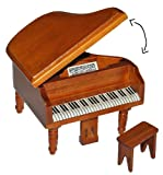 Unbekannt Miniatur Konzert Flügel Klavier mit Hocker - Holz Maßstab 1:12 - aufklappbar - Möbel dunkel braun Puppenhaus Piano - Musikinstrument Musik Instrument