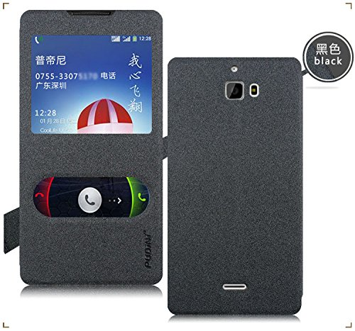 Pudini® GoldSand Leather Flip Cover Case for Micromax Canvas Nitro A310 - Free Screen Guard - Dark Grey
