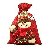 Topdo 1 Pieza Bolsa de Regalo con Cajas de Arpillera Muñeco de Nieve Lindo Cuerda Atado Gift Bag para Navidad Fiesta de Boda Bolsas de Regalo Rojo 20 * 28cm