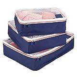 mDesign Set da 3 Organizer valigia – Modulo organizer per borsa e bagaglio a mano – Porta abiti da viaggio in rete e poliestere – blu, bianco e arancione
