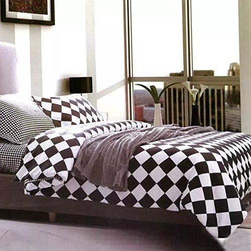 alicemall grille noir et blanc classique de parure de lit 3 pices housse de couette et - Set De Chambre King Noir