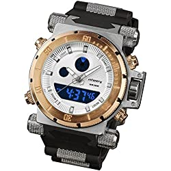 INFANTRY® Herren Analog-Digital Armbanduhr Alarm Stoppuhr Outdoor Golden Quarzuhr Digitaluhr Kautschuk Armband