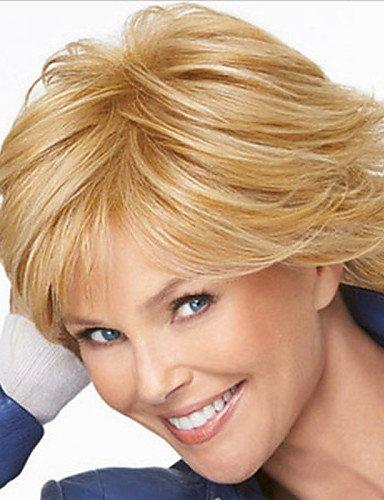 Fashion wigstyle Europa und den Vereinigten Staaten verkaufen wie Hot Kuchen, Pale Golden Highlights der mittleren Alters kurz gerade Haar Perücke auf Verkauf billige