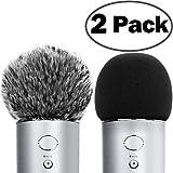 ChromLives - Copri microfono per parabrezza Blue Yeti Furry + copertura in schiuma compatibile con condensatore Blue Yeti, Yeti Pro (Furry & Foam Combo 2 pezzi)