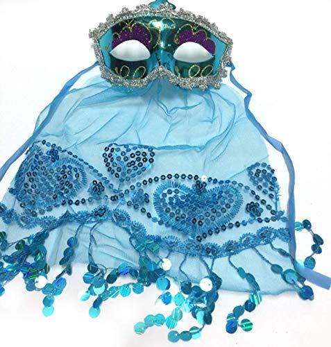 Tanz Tier Themen Kostüm - Xiao-masken Maske Maskerade Abschlussball Maske Party/Dinner Party/Halloween/Weihnachten Maske Tanz Bauchtanz Jährlich Indien Wind Tanzschleier Maske Gules (Farbe: Blau)