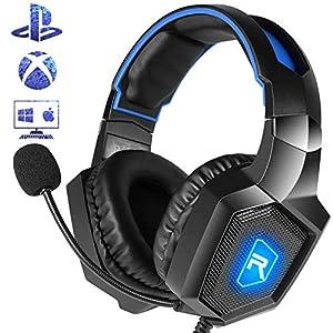 Casking Gaming Headset, Neuen LED-Licht PS4 Gaming Kopfhörer mit Surround Stereo Sound und Mikrofon zur Geräuschreduzierung für Xbox One,PS4,PC,Nintendo Switch,Mac,PC und Phone