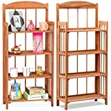 Folding Foldable Display Wooden Wood Bookcase Book Shelves Storage Organiser Rack 2/3/4 Tiers Conner Design/Bookcase Design (4 tiers shelf (Brown Bookcase Design))